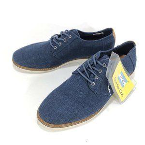 TOMS Mens Size 9 Preston Navy Linen Dress Shoes